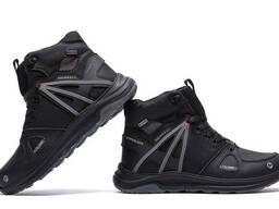 Мужские зимние кожаные ботинки Merrell SLAB Black (реплика)