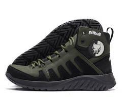 Мужские зимние кожаные ботинки Pitbull Olive (реплика)