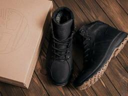 Мужские зимние кожаные ботинки Timberland Black leather (реплика)