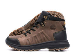 Мужские зимние кожаные ботинки Timberland Brown leather (реплика)