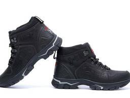 Мужские зимние кожаные ботинки Under Armour Black (реплика)
