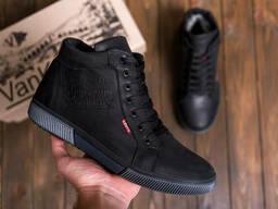 Мужские зимние кожаные кроссовки Levis Black Classic (реплика)
