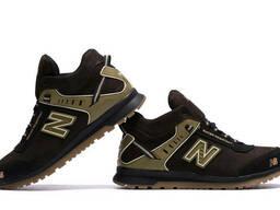 Мужские зимние кожаные кроссовки NB Clasic Brown (реплика)