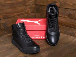 Мужские зимние кожаные кроссовки Puma Suede Black leather (реплика)
