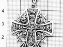 Мужской крест серебряный Распятие Христово Православный Крест Икона Божьей Матери. ..