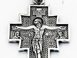 Мужской крест сереряный Крест Распятие Христово Икона Божией Матери Неопалимая Купина