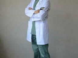 Мужской медицинский халат на пуговицах (р.42-60) Белый