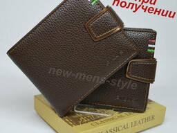 Мужской стильный кожаный кошелек портмоне бумажник. ..