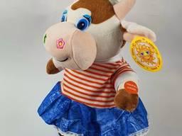 Мягкая игрушка, бычок, девочка, в юбке, ходит, поет, интерактивная игрушка Код: 2476