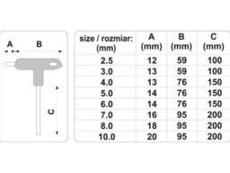 Набір ключів шестигранних Т-подібних з кульковим наконечником Vorel HEX 2. 5-10 мм. ..