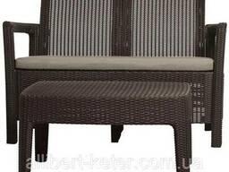 Набір садових меблів зі штучного ротангу Tarifa SOFA Table темно-коричневий (Allibert)