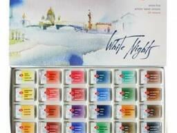 Набор акварельных красок Белые ночи 24цв, кюветы, картон, Не