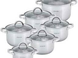 Набор кухонной посуды Kamille Mystery 6 стальных кастрюль с крышками