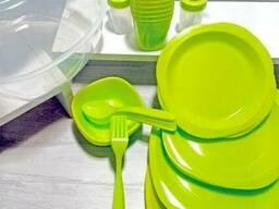 Набор Пластиковой Посуды 48 Предметов ДЛЯ Пикника И Поездок