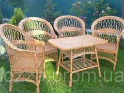 Набор плетеной мебели : стол и 4 кресла