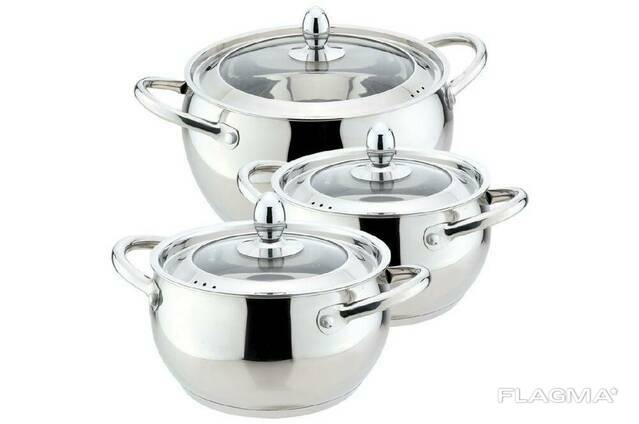 Набор посуды нержавеющий Maestro - 1,5 х 2 х 4 л, (3 шт. ). ..