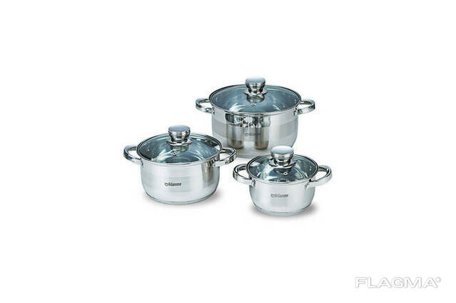 Набор посуды нержавеющий Maestro - 1,5 х 3 х 5 л, (3 шт. ). ..