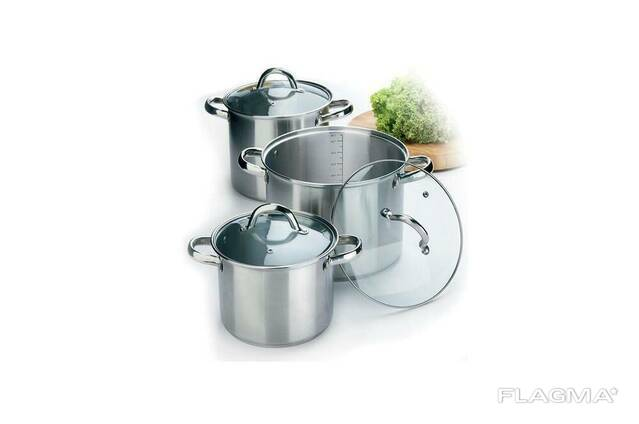 Набор посуды нержавеющий Maestro - 3,5 х 4,5 х 8 л, (3. ..
