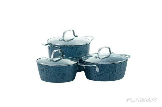 Набор посуды нержавеющий Maxmark - 3 шт. (2,5 x 4 л + 1,7. ..