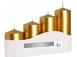 Набор свечей цилиндр золото 4 штуки