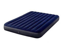 Матрац надувной велюр Intex синий насос+2подушки 152*203*25см IN-64765 MPH031012