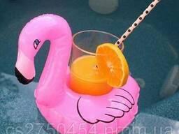 Надувные держатели для коктейлей фламинго пончик ананас и др