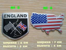 Наклейки на авто Флаг Англии, США алюминиевые