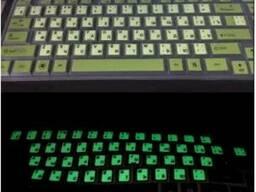 Наклейки на клавиатуру светящиеся прозрачные с черными буквами Русские, Английские, c. ..