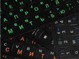 Наклейки на матовой черной клавиатуре с Русскими и Английскими зелеными буквами