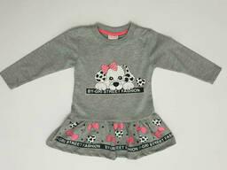 Нарядное платье-туника для девочки с принтом