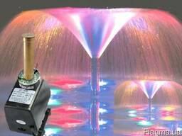 Насос для фонтана с подсветкой и насадкой Петуния