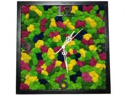Настенные часы квадратные со стабилизированым мхом MiNature Moss 30 см