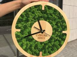 Настенные часы со стабилизированым мхом 30 см MiNature Moss
