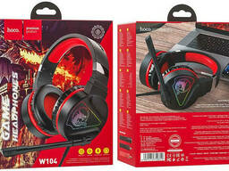 Наушники игровые HOCO W104 Drift с микрофоном LED подсветкой, черно-красные