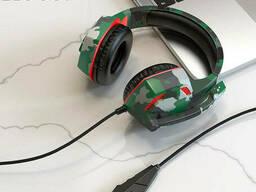 Наушники игровые НОСО ESD08 с микрофоном LED подсветкой, камуфляж зеленый