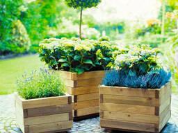 Вазон деревянный садовый. Кашпо клумба цветочник из дерева под заказ от производителя, Оде