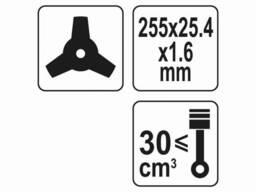 Ніж трьохсторонній до газонокосарок YT-85001/YT-85003 YATO Ø255 x 25. 4 мм