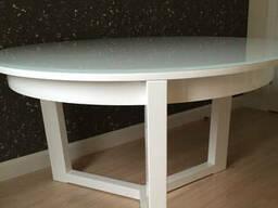 Обеденный стеклянный белый круглый стол на кухню, гостинную
