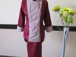 Поварской костюм бордовый
