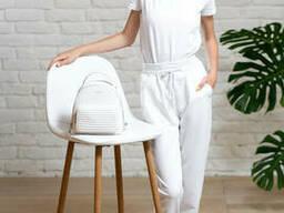 Белые брюки джоггеры на девочку подростка из двунитки 40