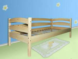 Одноярусная деревянная кровать Люкс