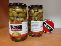 Оливки гриль , зеленые без косточки в масле с розмарином