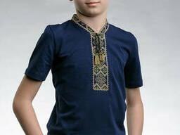 Оригинальная детская вышитая футболка «Казацкая (зеленая вышивка)» 158