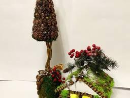 Оригинальные новогодние композиции, новогодний декор, корзины