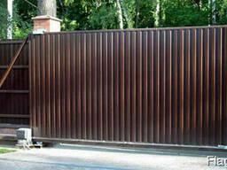 Откатные ворота из профнастила 4200х2400
