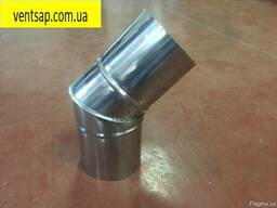 Отвод 45*нерж. 0, 5 мм, диаметр 120 мм. дымоход