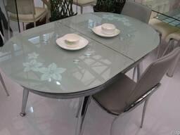 Овальный стол трансформер B806, кухонные стеклянные столы