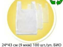 Пакет майка 24*43 см (9 мкм) БИО 100 шт./упаковка