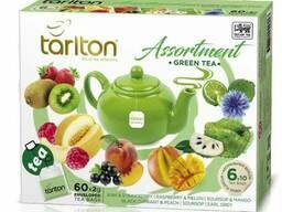 Пакетированный зеленый цейлонский чай Тарлтон Ассорти 60 пакетиков