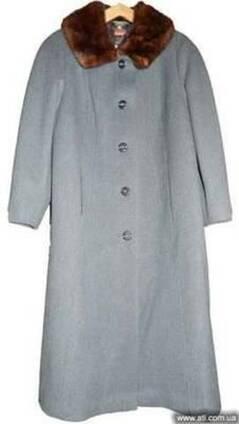 Пальто женское драповое новое с норковым воротником